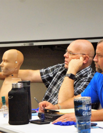 Focused on learning Cardiopulmonary Resuscitation class